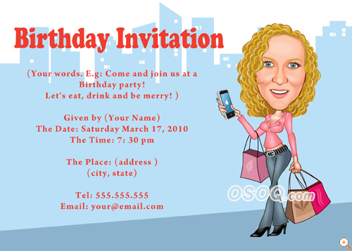 Osoq.com > caricatures > invitation cards > invitation for birthday